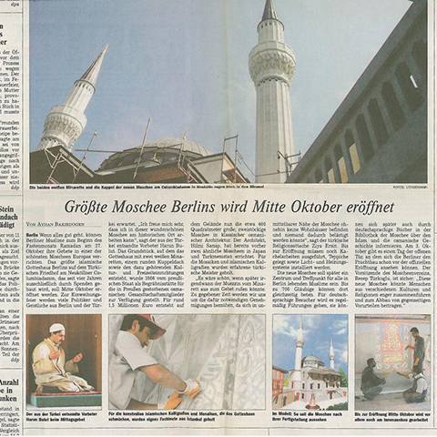 Die Welt, 12.08.03 - About the Berlin Sehitlik Mosque and Cultural Center