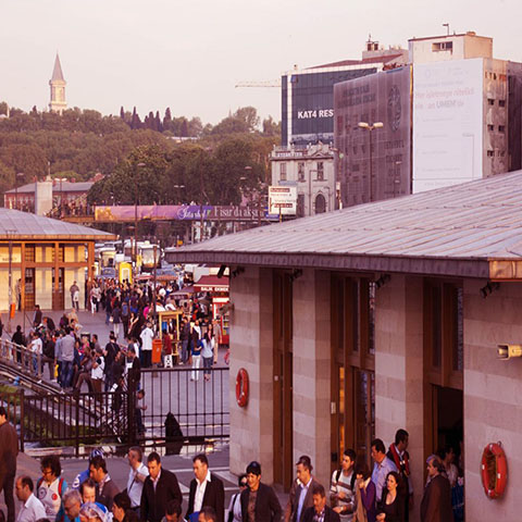 Eminönü Ferry Terminals of Hezarfen Ahmed Çelebi, Katib Çelebi and Evliya Çelebi